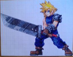 Pixel art Final Fantasy: Cloud Strife by PaintPixelArt