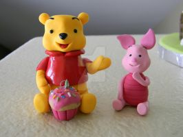 Winnie The Pooh and Piglet Figurines-Polymer Clay by ThePetiteShop