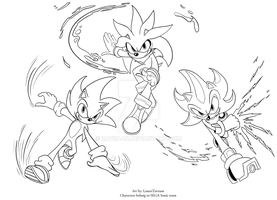 Sonic trio color plate by zavraan