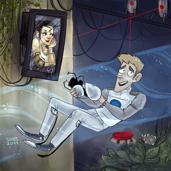 Commission: Chell and Wheatley by SIIINS