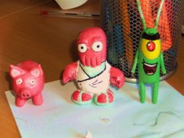 Zoidberg Plankton And pig by i-want-the-red-one