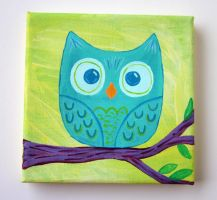 Owl Original Painting by lovarevolutionary