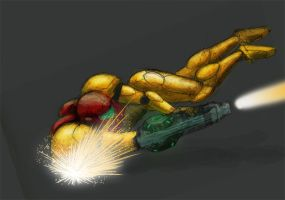 Samus shooting by MonsieurBaron