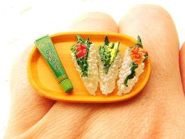 Hand Rolled Sushi Wasabi Ring by souzoucreations