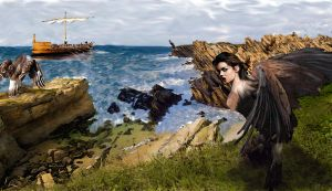 Odysseus and the Sirens by 3ravenes