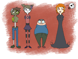 Raising the Fred (character line up) by Weaponized-Wafflez