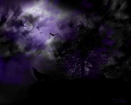 The howling of a night wolf by nana63