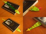 Bookwyrm bookmark- bright green and yellow by WhimsicalSquidCo