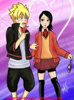 sarada and boruto flirt by ambarnarutofrek1