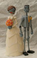 Custom Robot Wedding Cake Topper Commission by SpaceCowSmith
