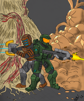 Masterchief Isaac teamup by wolf117M