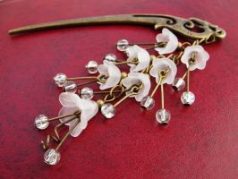 Hair stick with frosted bridal white flowers by Benia1991