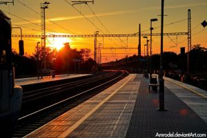 Railway Station at Sunset by amrodel