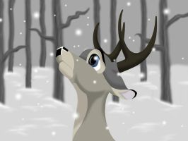 a deer in the snow by miesmauz