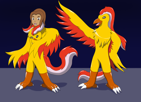 Gift: Anthro Moltres suit TF by Wolfeenix