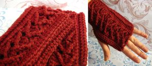 Burgundy Fingerless Gloves by vombatiformes
