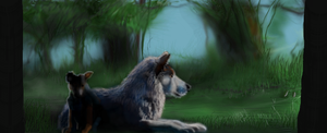 Wolves Mother and  pup by MacAodhagain