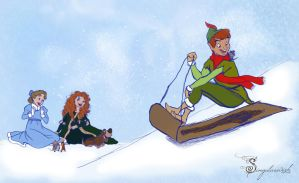 Sketch Request-Disney Winter Scene by Lydia-Burns