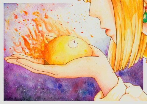 Watercolor: Howl y Calcifer by Panelletdelimon