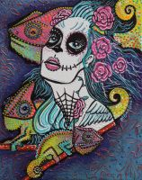 Chameleon Sugar Skull by barbosaart