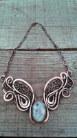 Fairy copper wire  necklace with Ocean Jasper by TangledWorld