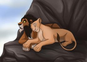 Scar and his beloved Sarafina by crybaby-1990