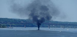 Boat Fire on Hudson by TheMightyQuinn