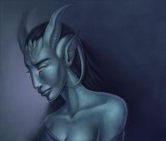 Sad draenei by FaPlastilinka