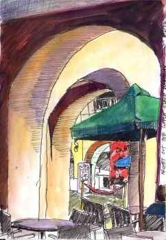 #412 - Arches out the coffee shop window by Art-Chap-Enjoin