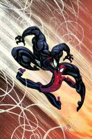 Spidey vs Venom by Tradd Moore colors by me by JoeyVazquez