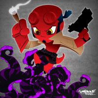 Raising a little Hellboy Chibi by KWESTONE