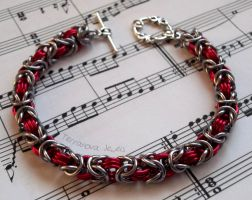 Red and dark silver bracelet by TerraNovaJewels