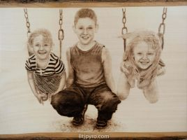 Kids Portrait - Woodburning by brandojones