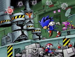 Sonic in the Scrap Brain Zone by gsilverfish