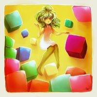 Colored Cubes by Reba