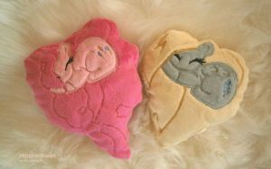 Handmade Pinkie and Derpy Heart Pillows by HipsterOwlet