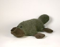 Stuffed Platypus Plushie in Green and Brown by Saint-Angel