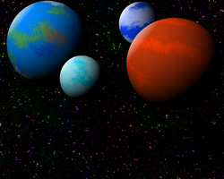 The 4 Fantasy Planets by KiyoshiNaito