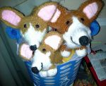 A Bucket of Corgis (Crocheted) by Sabretooth