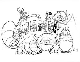 Studio Ghibli Catbus for AICN Contest - INKS by FUCHIPATAS