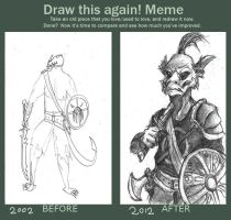 Draw this again Meme: Argonian Mercenary by TheLivingShadow