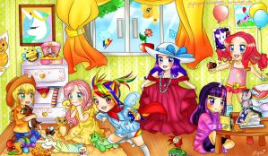 MLP MANE 6 ~ as LITTLE GIRLS !! by FlyingCatsandGlitter
