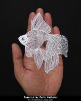 Papercut - Papercutting - Paper art - Gold Fish by ParthKothekar