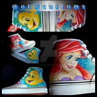 Little Mermaid Ariel and Flounder Custom Vans by VeryBadThing