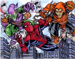 Spiderman vs Hobgoblin and Green Goblin by mdavidct