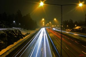 Highway Light Streaks (E18) by CChrieon