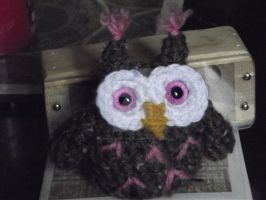 Pink and brown owlet by Amigurumi-Lover