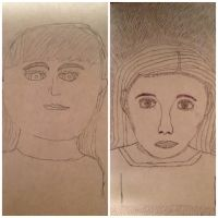 Potrait before and after freehand drawing! by puppydog83