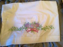 Cross Stitch Pansies pillow case by jennyh96