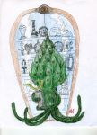 Artichoke Man and the cabinet of curiosities by MrAdam